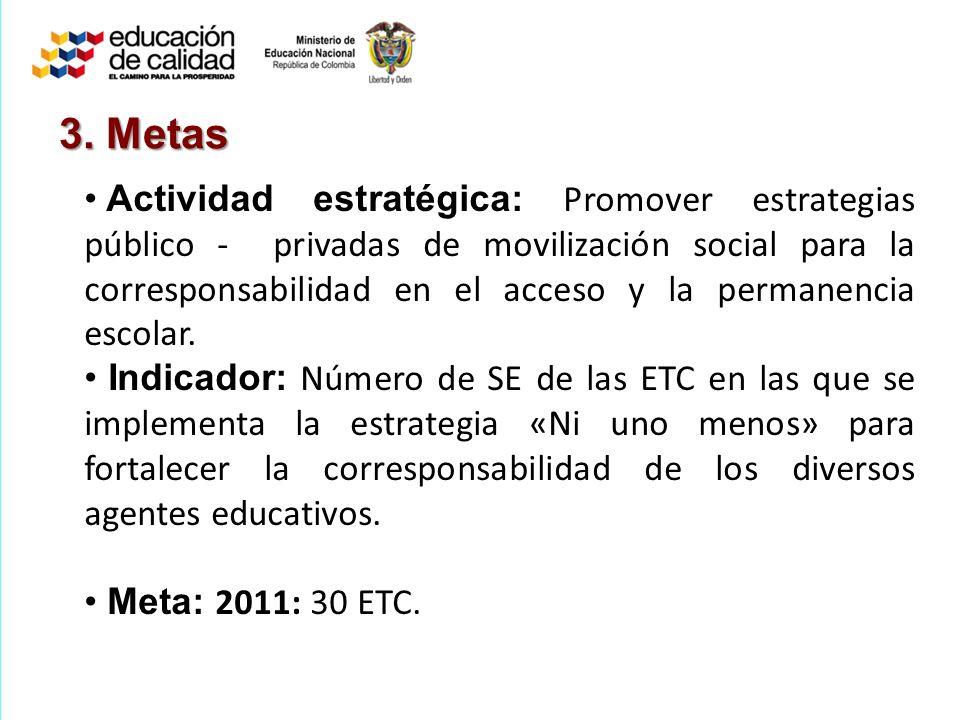 3. Metas Actividad estratégica: Promover estrategias público - privadas de movilización social para la corresponsabilidad en el acceso y la permanenci
