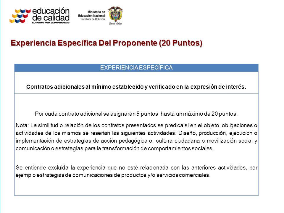 Experiencia Específica Del Proponente (20 Puntos) EXPERIENCIA ESPECÍFICA Contratos adicionales al mínimo establecido y verificado en la expresión de interés.