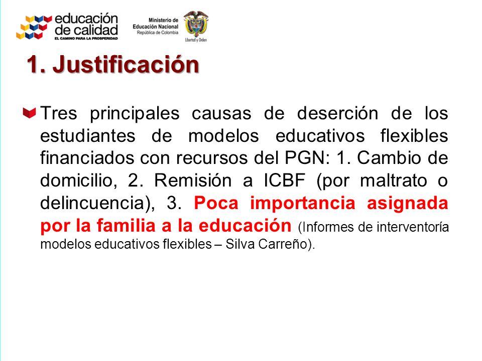 Tres principales causas de deserción de los estudiantes de modelos educativos flexibles financiados con recursos del PGN: 1.