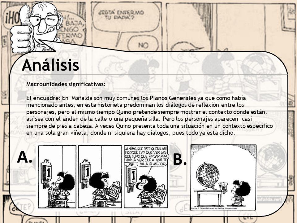 Análisis Macrounidades significativas: El encuadre: En Mafalda son muy comunes los Planos Generales ya que como había mencionado antes, en esta histor