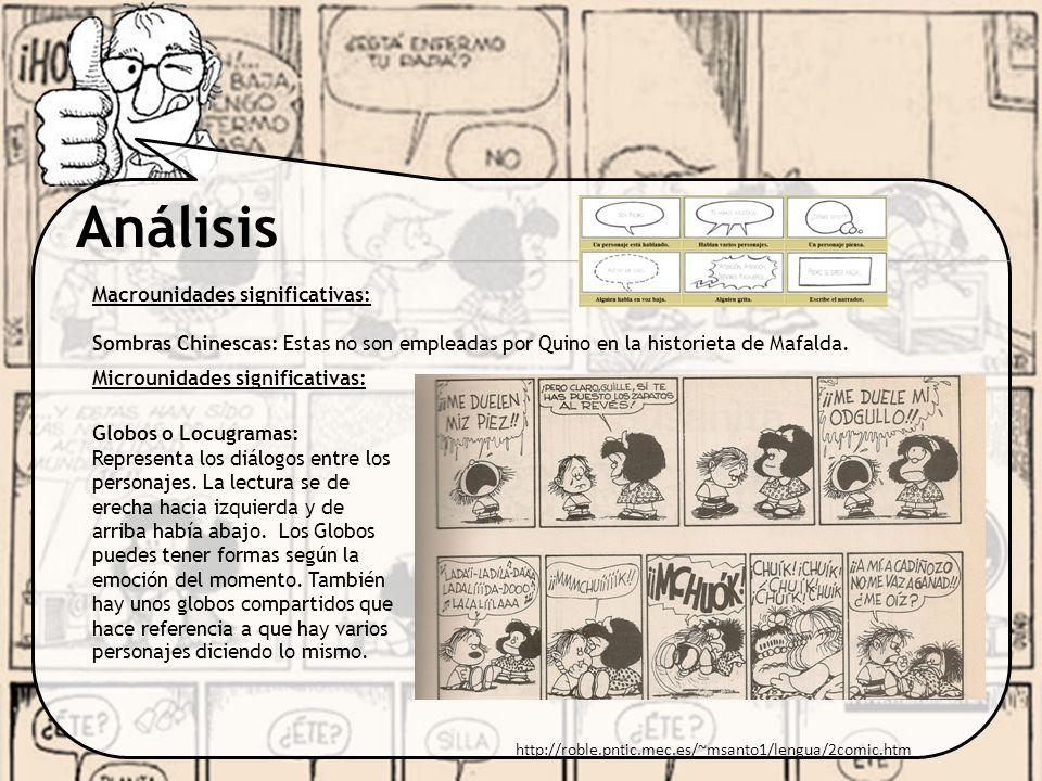 Análisis Macrounidades significativas: Sombras Chinescas: Estas no son empleadas por Quino en la historieta de Mafalda. http://roble.pntic.mec.es/~msa