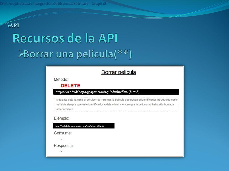 ISW–Arquitectura e Integración de Sistemas Software – Grupo 18 API API API http://webdvdshop.appspot.com/api/admin/film/{filmid} http://webdvdshop.app