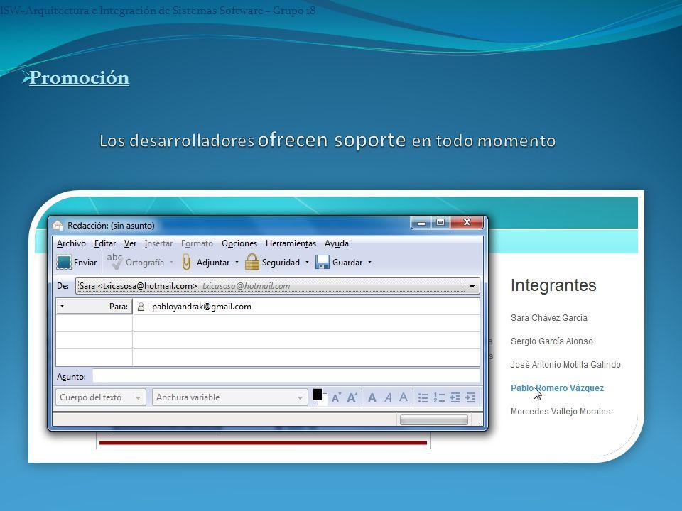 ISW–Arquitectura e Integración de Sistemas Software – Grupo 18 Promoción Promoción Promoción