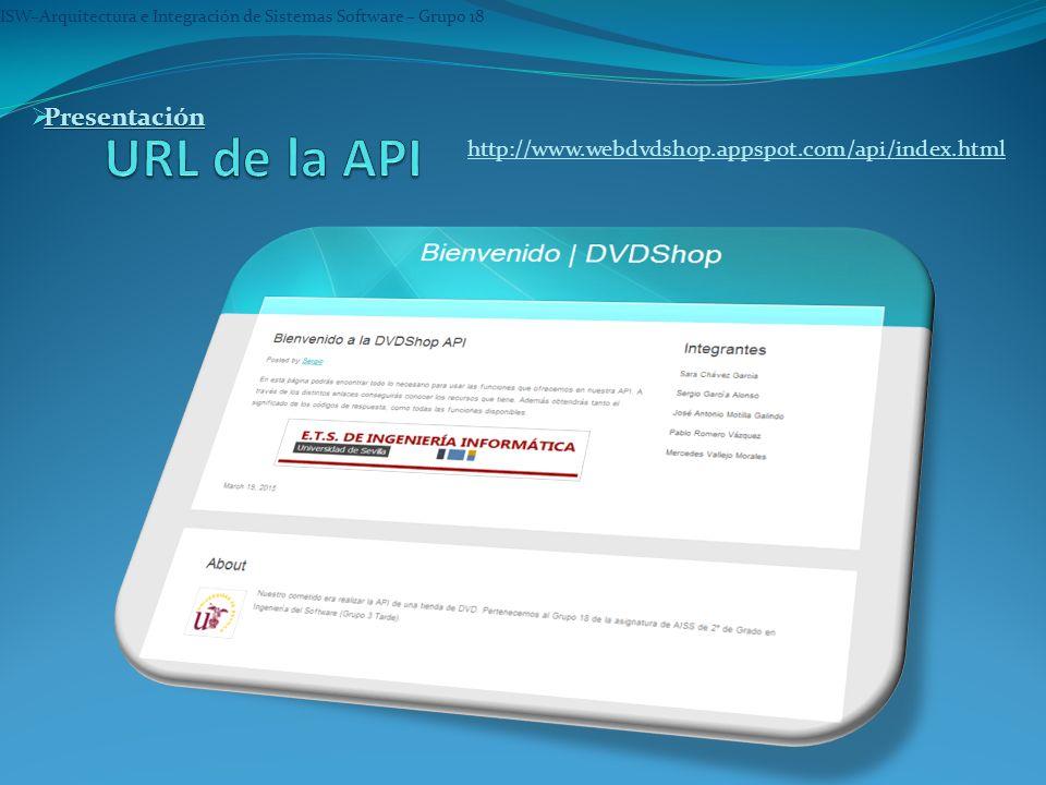 ISW–Arquitectura e Integración de Sistemas Software – Grupo 18 Presentación Presentación Presentación http://www.webdvdshop.appspot.com/api/index.html