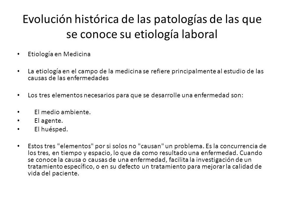 Evolución histórica de las patologías de las que se conoce su etiología laboral Etiología en Medicina La etiología en el campo de la medicina se refie