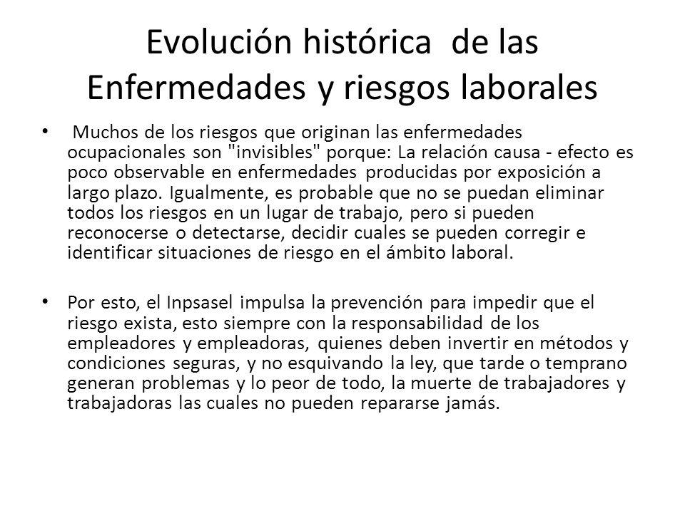 Evolución histórica de las Enfermedades y riesgos laborales Muchos de los riesgos que originan las enfermedades ocupacionales son