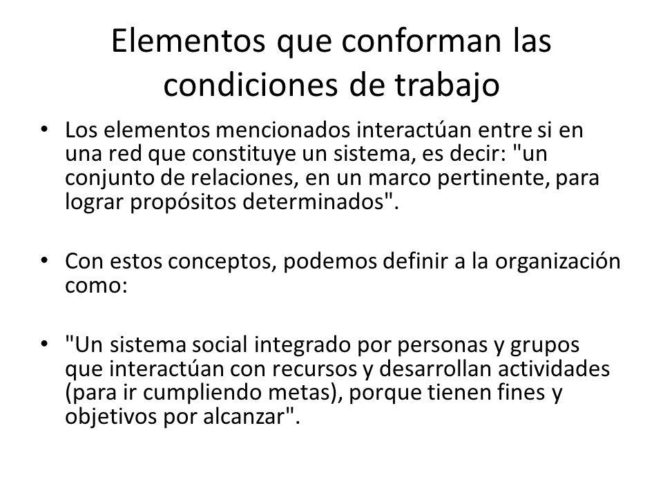 Elementos que conforman las condiciones de trabajo Los elementos mencionados interactúan entre si en una red que constituye un sistema, es decir: