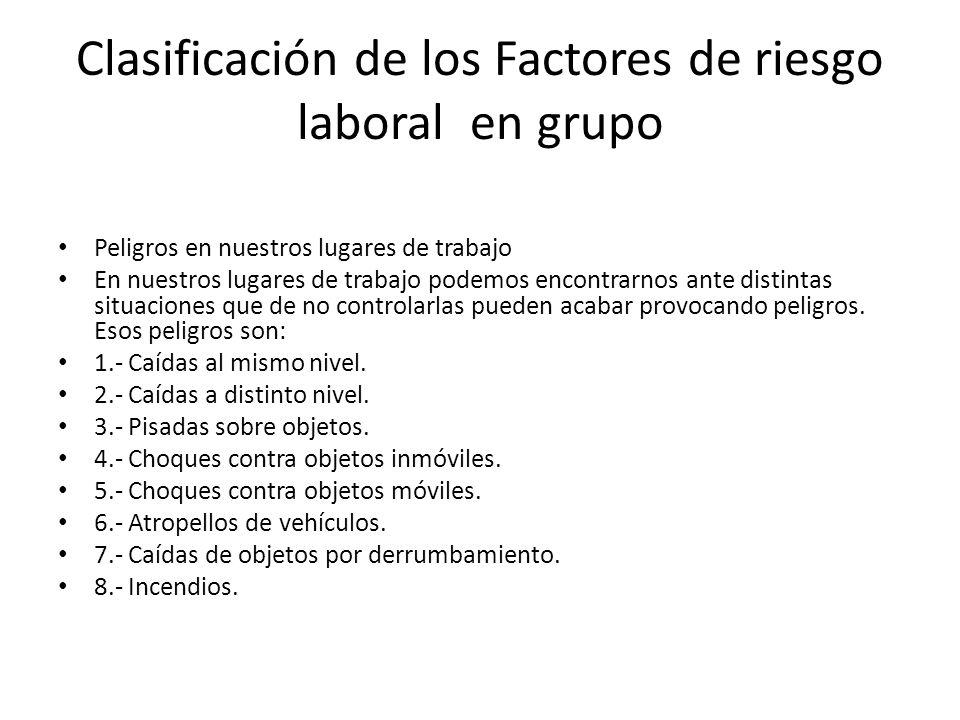 Clasificación de los Factores de riesgo laboral en grupo Peligros en nuestros lugares de trabajo En nuestros lugares de trabajo podemos encontrarnos a
