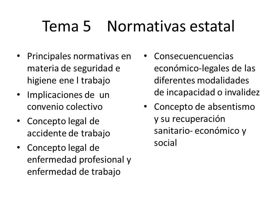 Tema 5 Normativas estatal Principales normativas en materia de seguridad e higiene ene l trabajo Implicaciones de un convenio colectivo Concepto legal