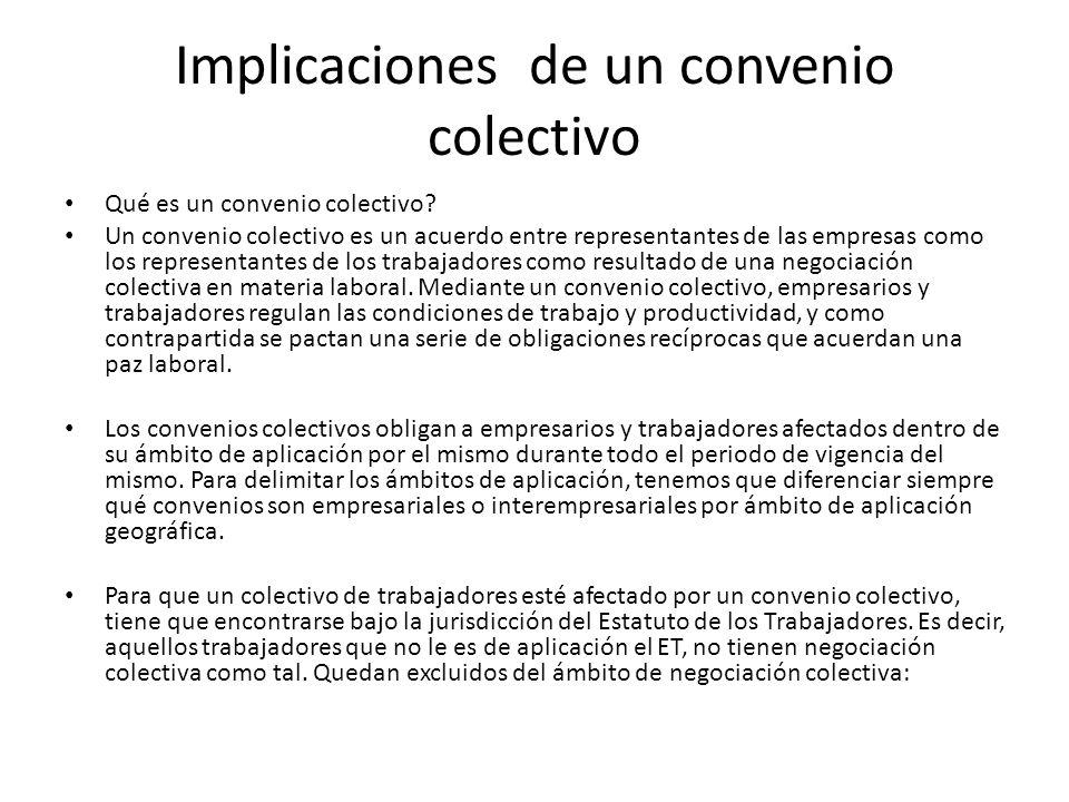 Implicaciones de un convenio colectivo Qué es un convenio colectivo? Un convenio colectivo es un acuerdo entre representantes de las empresas como los