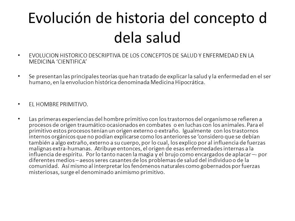 Evolución de historia del concepto d dela salud EVOLUCION HISTORICO DESCRIPTIVA DE LOS CONCEPTOS DE SALUD Y ENFERMEDAD EN LA MEDICINA CIENTIFICA Se pr