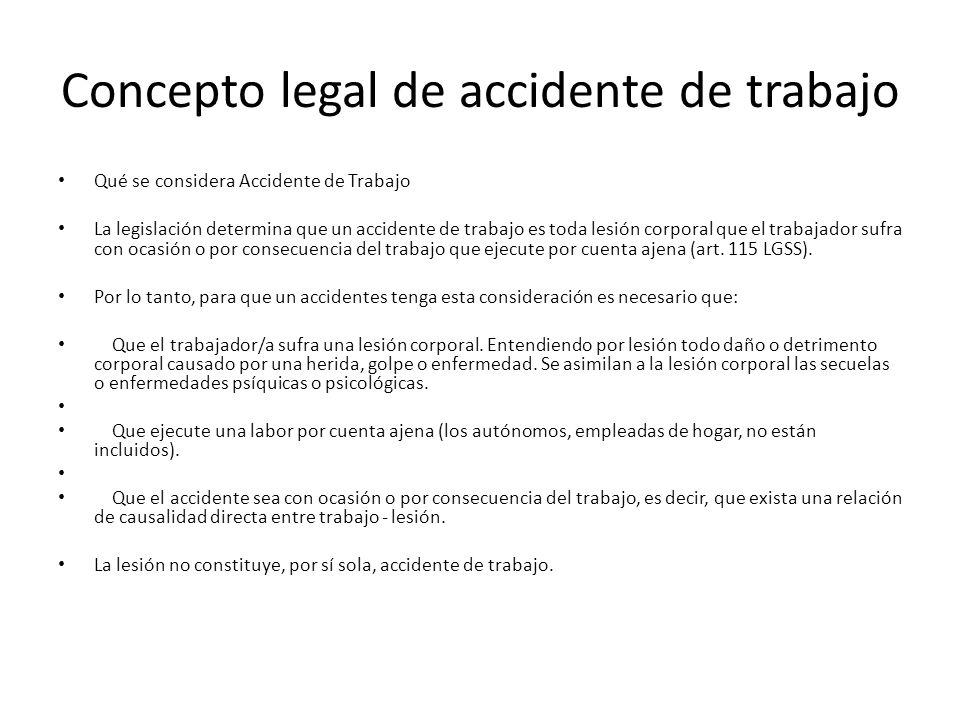 Concepto legal de accidente de trabajo Qué se considera Accidente de Trabajo La legislación determina que un accidente de trabajo es toda lesión corpo
