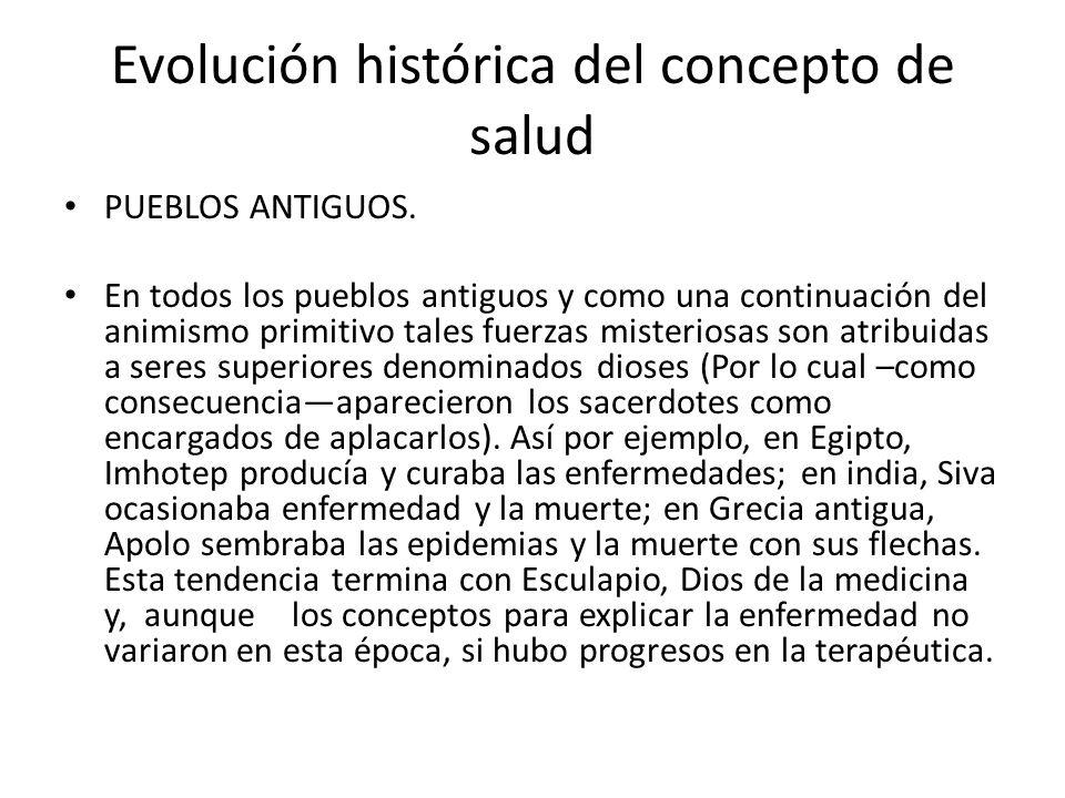 Evolución histórica del concepto de salud PUEBLOS ANTIGUOS. En todos los pueblos antiguos y como una continuación del animismo primitivo tales fuerzas