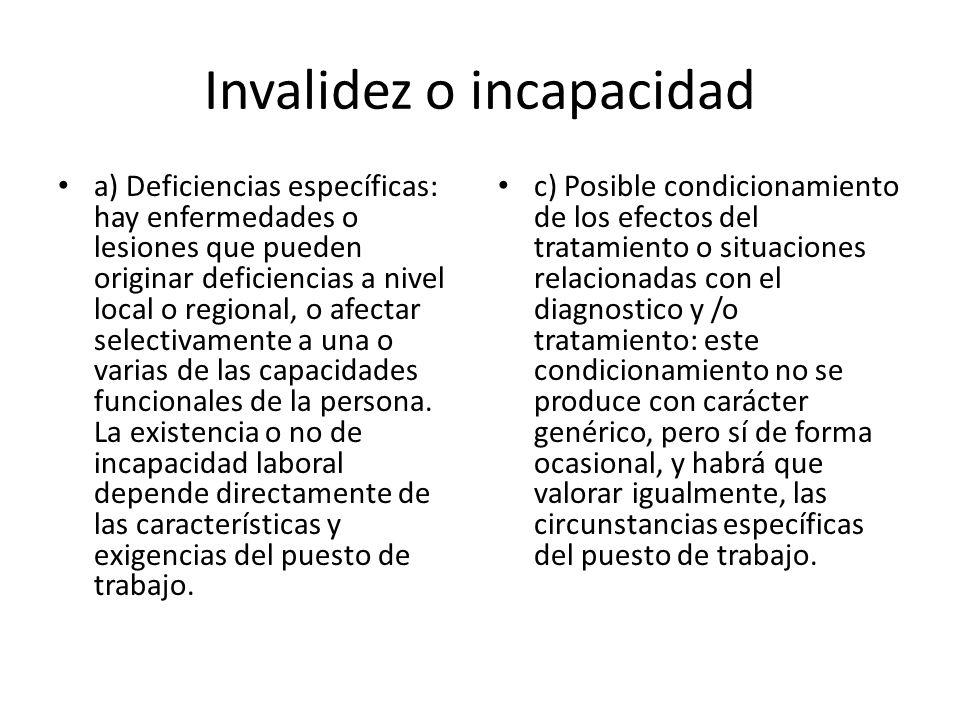 Invalidez o incapacidad a) Deficiencias específicas: hay enfermedades o lesiones que pueden originar deficiencias a nivel local o regional, o afectar