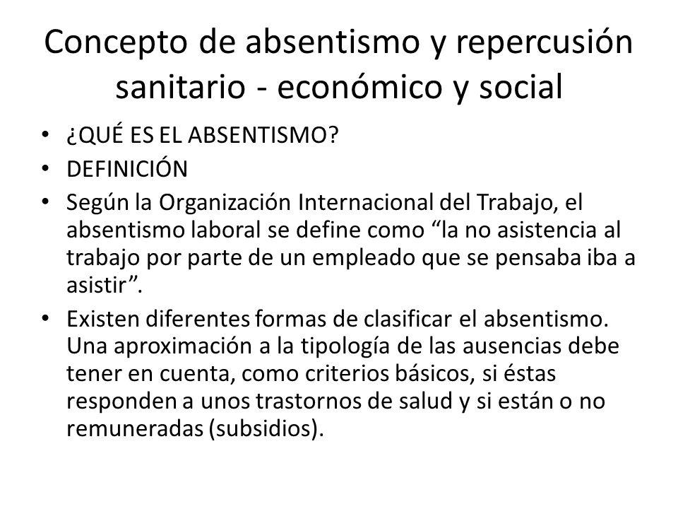 Concepto de absentismo y repercusión sanitario - económico y social ¿QUÉ ES EL ABSENTISMO? DEFINICIÓN Según la Organización Internacional del Trabajo,