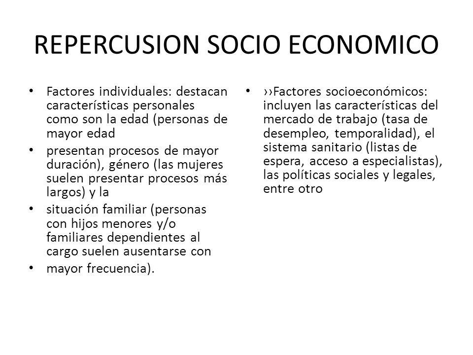 REPERCUSION SOCIO ECONOMICO Factores individuales: destacan características personales como son la edad (personas de mayor edad presentan procesos de