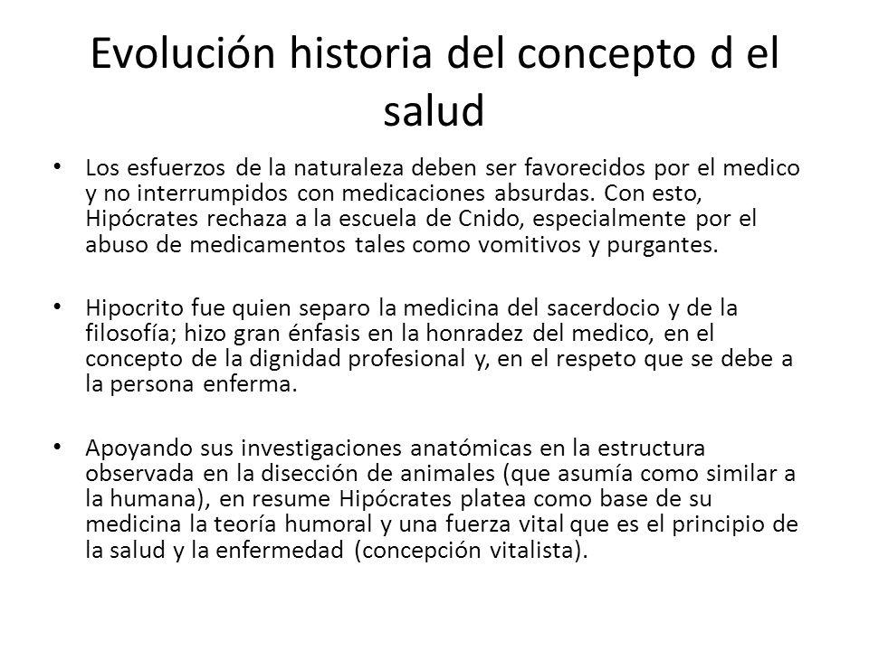 Evolución historia del concepto d el salud Los esfuerzos de la naturaleza deben ser favorecidos por el medico y no interrumpidos con medicaciones absu
