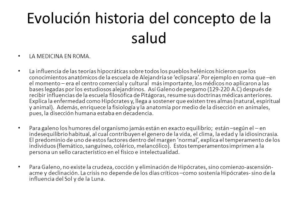 Evolución historia del concepto de la salud LA MEDICINA EN ROMA. La influencia de las teorías hipocráticas sobre todos los pueblos helénicos hicieron