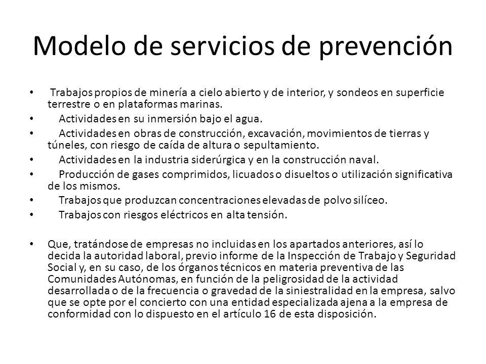 Modelo de servicios de prevención Trabajos propios de minería a cielo abierto y de interior, y sondeos en superficie terrestre o en plataformas marina