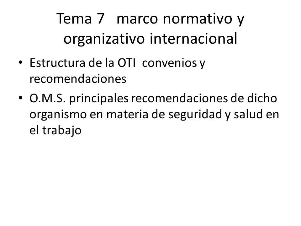 Tema 7 marco normativo y organizativo internacional Estructura de la OTI convenios y recomendaciones O.M.S. principales recomendaciones de dicho organ