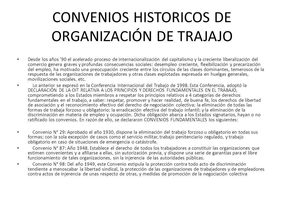 CONVENIOS HISTORICOS DE ORGANIZACIÓN DE TRAJAJO Desde los años 90 el acelerado proceso de internacionalización del capitalismo y la creciente liberali