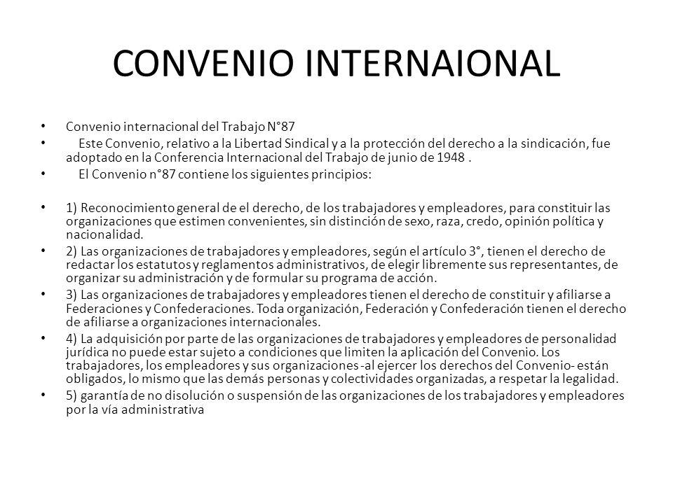 CONVENIO INTERNAIONAL Convenio internacional del Trabajo N°87 Este Convenio, relativo a la Libertad Sindical y a la protección del derecho a la sindic