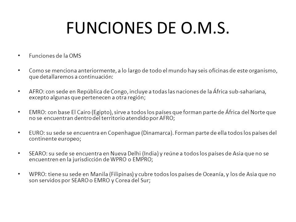 FUNCIONES DE O.M.S. Funciones de la OMS Como se menciona anteriormente, a lo largo de todo el mundo hay seis oficinas de este organismo, que detallare
