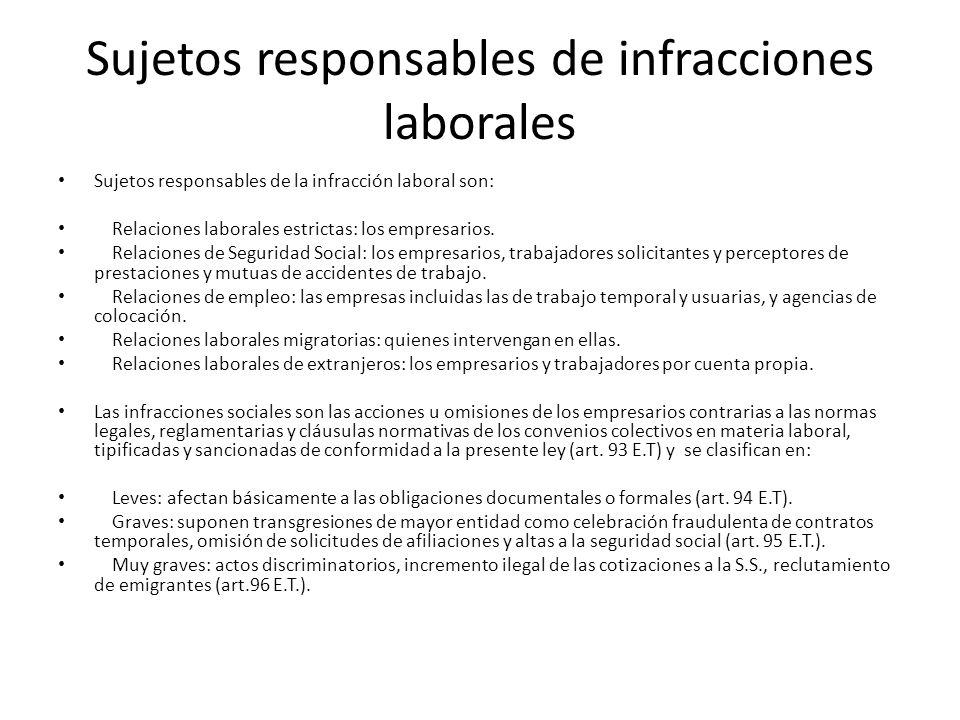 Sujetos responsables de infracciones laborales Sujetos responsables de la infracción laboral son: Relaciones laborales estrictas: los empresarios. Rel