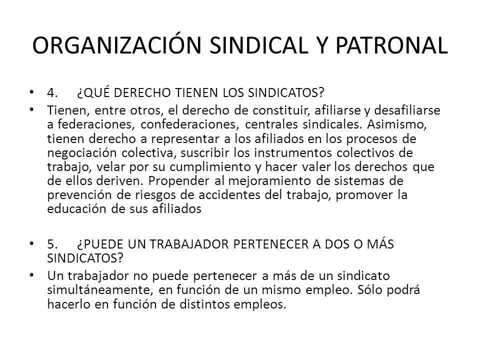 ORGANIZACIÓN SINDICAL Y PATRONAL 4.¿QUÉ DERECHO TIENEN LOS SINDICATOS? Tienen, entre otros, el derecho de constituir, afiliarse y desafiliarse a feder