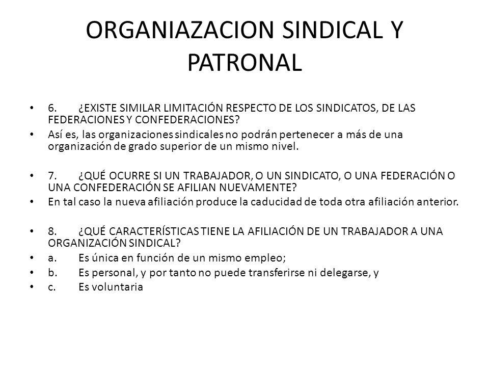 ORGANIAZACION SINDICAL Y PATRONAL 6.¿EXISTE SIMILAR LIMITACIÓN RESPECTO DE LOS SINDICATOS, DE LAS FEDERACIONES Y CONFEDERACIONES? Así es, las organiza