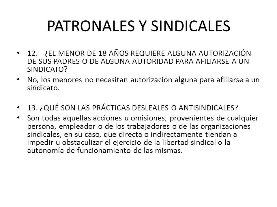 PATRONALES Y SINDICALES 12.¿EL MENOR DE 18 AÑOS REQUIERE ALGUNA AUTORIZACIÓN DE SUS PADRES O DE ALGUNA AUTORIDAD PARA AFILIARSE A UN SINDICATO? No, lo