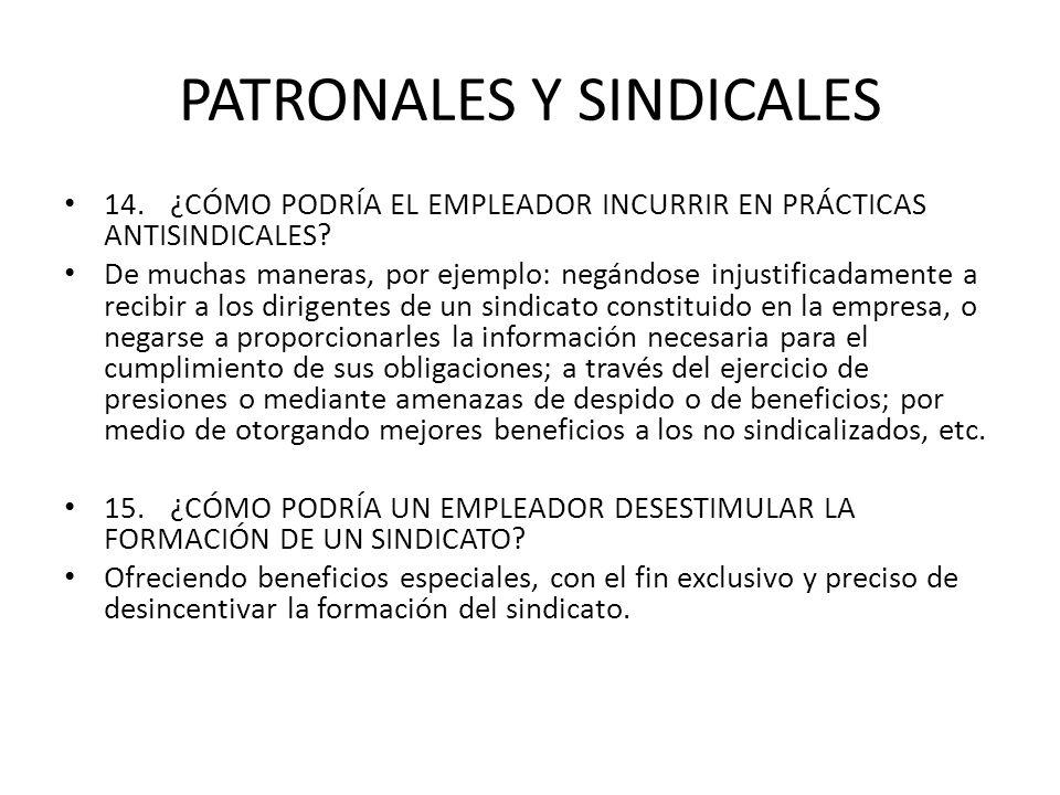 PATRONALES Y SINDICALES 14.¿CÓMO PODRÍA EL EMPLEADOR INCURRIR EN PRÁCTICAS ANTISINDICALES? De muchas maneras, por ejemplo: negándose injustificadament