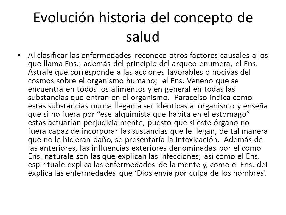 Evolución historia del concepto de salud Al clasificar las enfermedades reconoce otros factores causales a los que llama Ens.; además del principio de