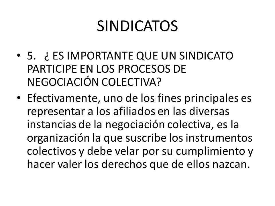SINDICATOS 5.¿ ES IMPORTANTE QUE UN SINDICATO PARTICIPE EN LOS PROCESOS DE NEGOCIACIÓN COLECTIVA? Efectivamente, uno de los fines principales es repre