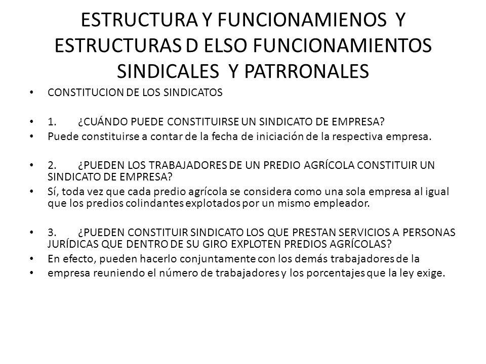 ESTRUCTURA Y FUNCIONAMIENOS Y ESTRUCTURAS D ELSO FUNCIONAMIENTOS SINDICALES Y PATRRONALES CONSTITUCION DE LOS SINDICATOS 1.¿CUÁNDO PUEDE CONSTITUIRSE