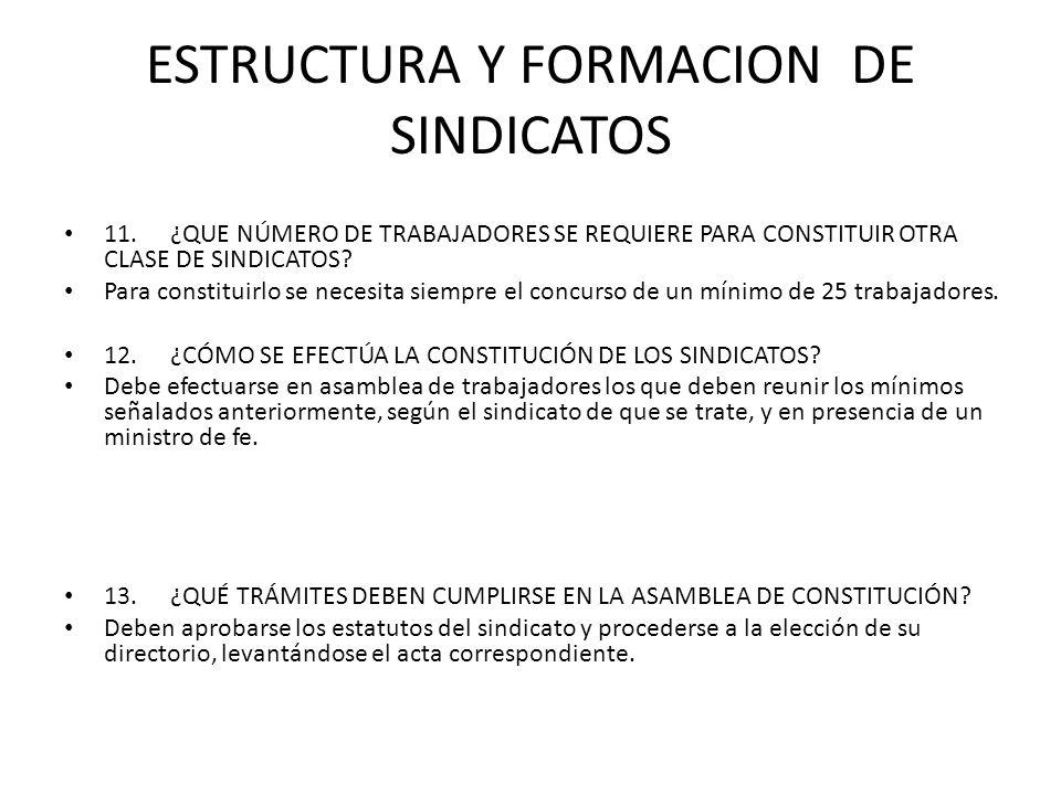 ESTRUCTURA Y FORMACION DE SINDICATOS 11.¿QUE NÚMERO DE TRABAJADORES SE REQUIERE PARA CONSTITUIR OTRA CLASE DE SINDICATOS? Para constituirlo se necesit