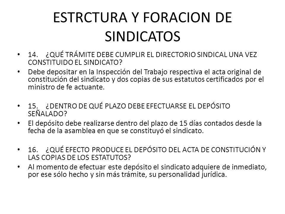 ESTRCTURA Y FORACION DE SINDICATOS 14.¿QUÉ TRÁMITE DEBE CUMPLIR EL DIRECTORIO SINDICAL UNA VEZ CONSTITUIDO EL SINDICATO? Debe depositar en la Inspecci