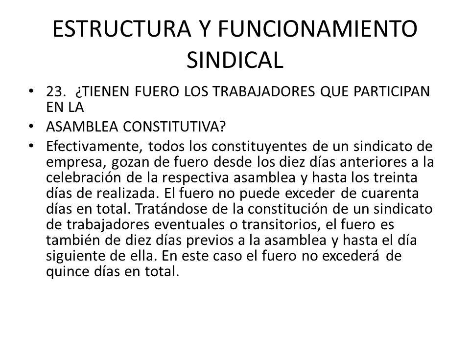 ESTRUCTURA Y FUNCIONAMIENTO SINDICAL 23.¿TIENEN FUERO LOS TRABAJADORES QUE PARTICIPAN EN LA ASAMBLEA CONSTITUTIVA? Efectivamente, todos los constituye