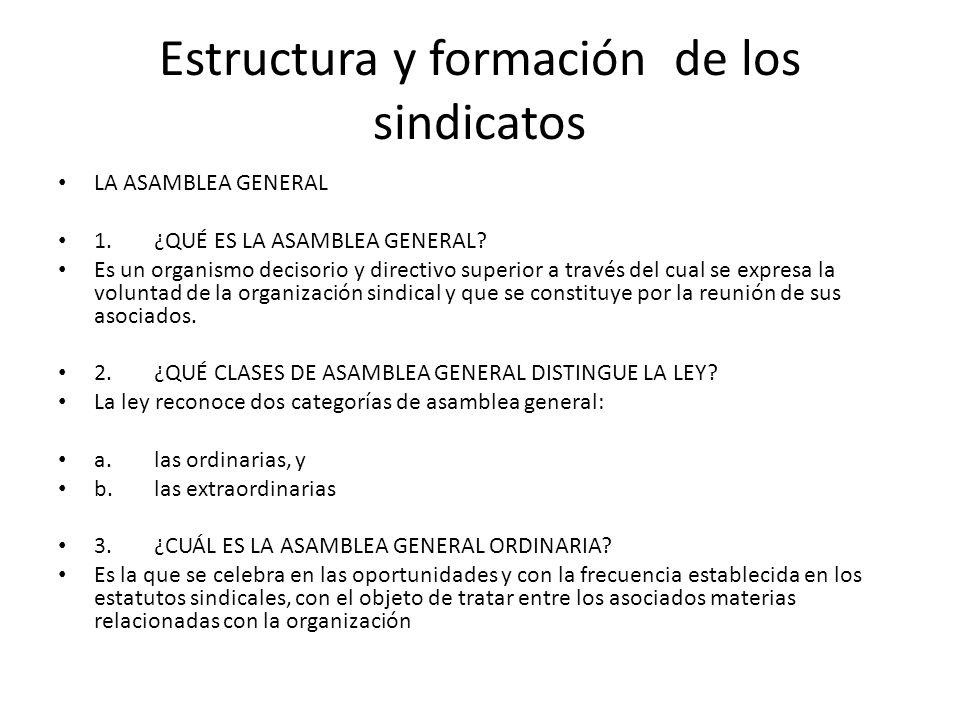 Estructura y formación de los sindicatos LA ASAMBLEA GENERAL 1.¿QUÉ ES LA ASAMBLEA GENERAL? Es un organismo decisorio y directivo superior a través de