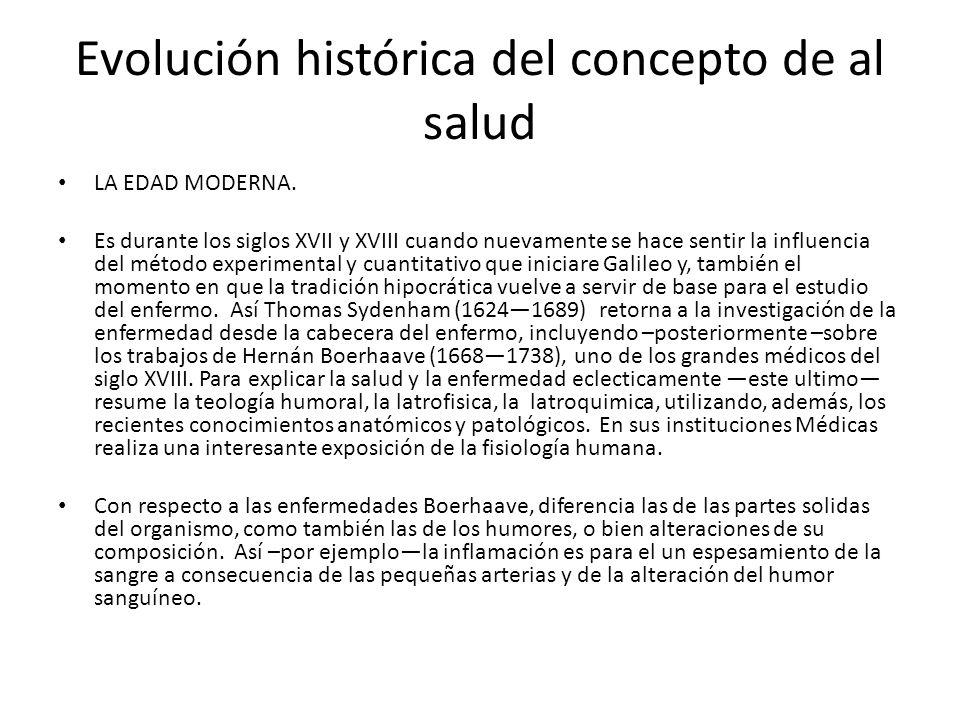 Evolución histórica del concepto de al salud LA EDAD MODERNA. Es durante los siglos XVII y XVIII cuando nuevamente se hace sentir la influencia del mé
