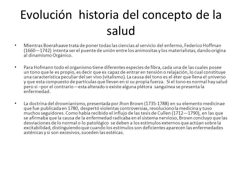 Evolución historia del concepto de la salud Mientras Boerahaave trata de poner todas las ciencias al servicio del enfermo, Federico Hoffman (16601742)