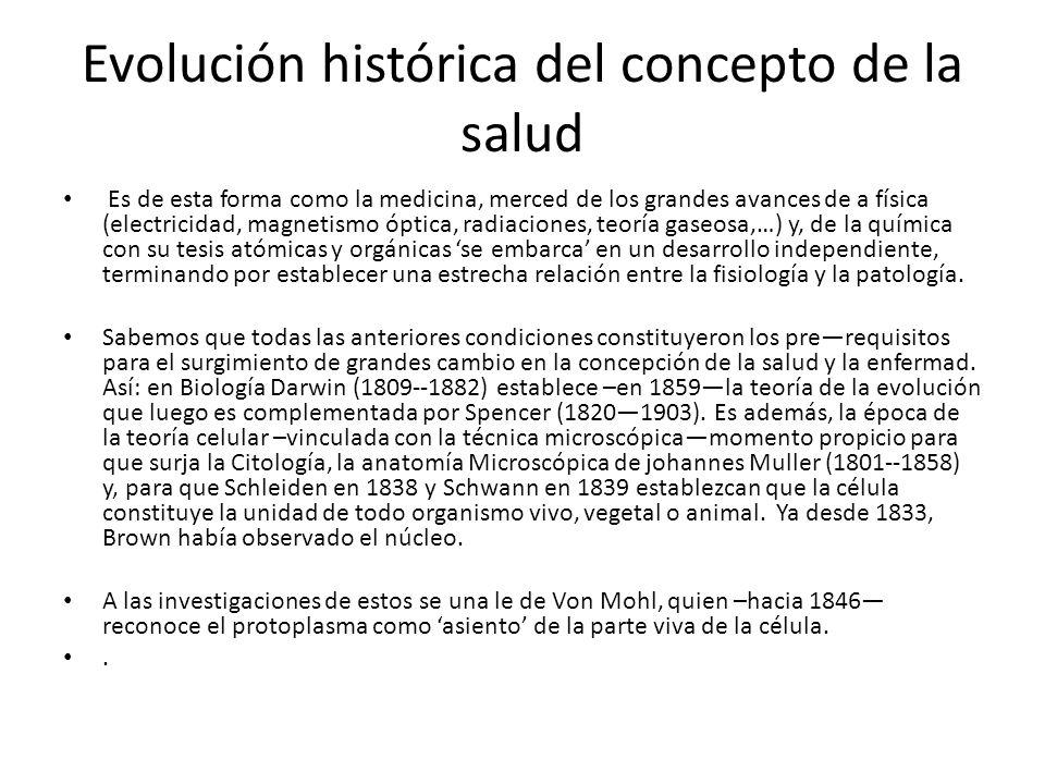 Evolución histórica del concepto de la salud Es de esta forma como la medicina, merced de los grandes avances de a física (electricidad, magnetismo óp