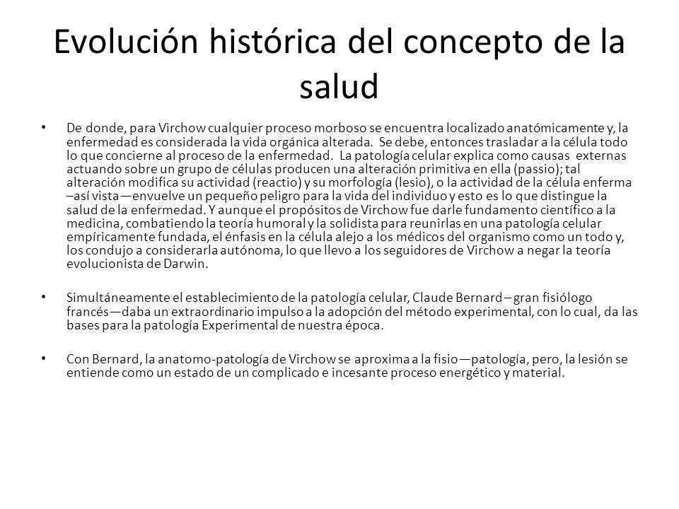 Evolución histórica del concepto de la salud De donde, para Virchow cualquier proceso morboso se encuentra localizado anatómicamente y, la enfermedad