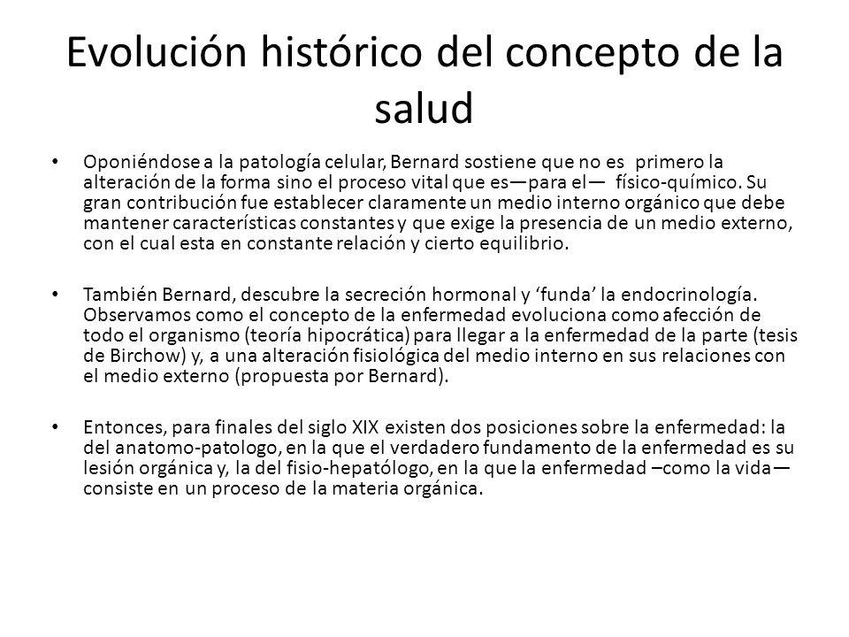 Evolución histórico del concepto de la salud Oponiéndose a la patología celular, Bernard sostiene que no es primero la alteración de la forma sino el