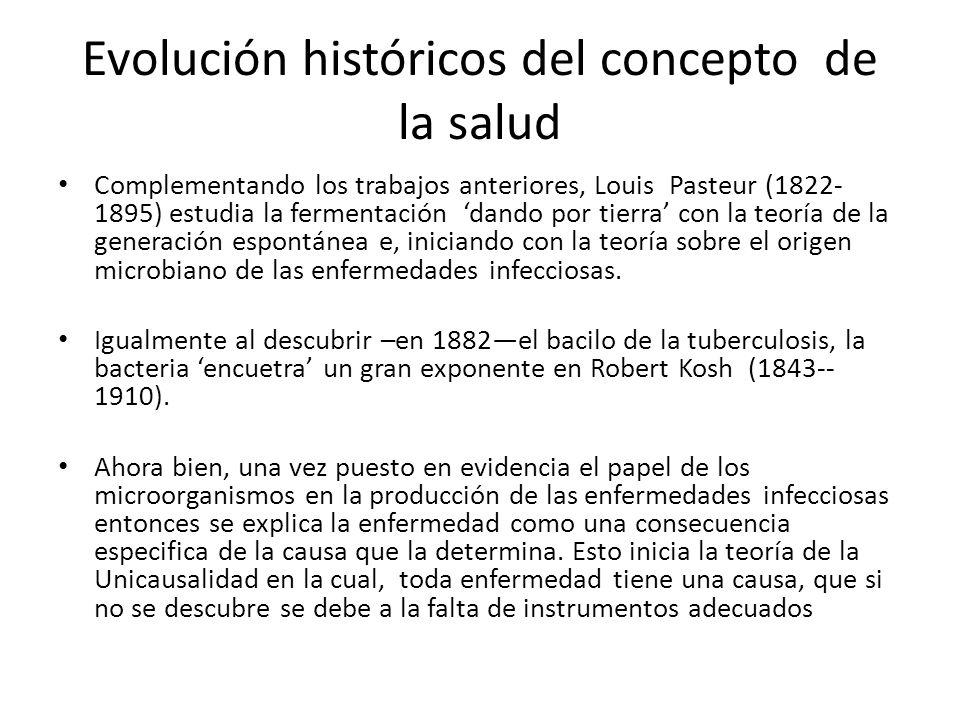 Evolución históricos del concepto de la salud Complementando los trabajos anteriores, Louis Pasteur (1822- 1895) estudia la fermentación dando por tie