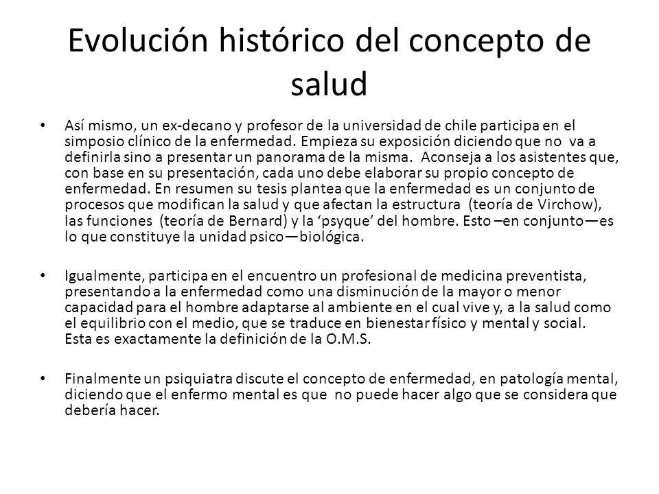 Evolución histórico del concepto de salud Así mismo, un ex-decano y profesor de la universidad de chile participa en el simposio clínico de la enferme