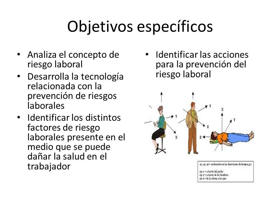 Objetivos específicos Analiza el concepto de riesgo laboral Desarrolla la tecnología relacionada con la prevención de riesgos laborales Identificar lo
