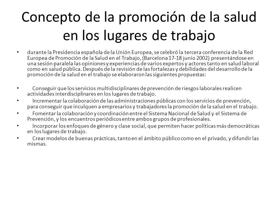 Concepto de la promoción de la salud en los lugares de trabajo durante la Presidencia española de la Unión Europea, se celebró la tercera conferencia
