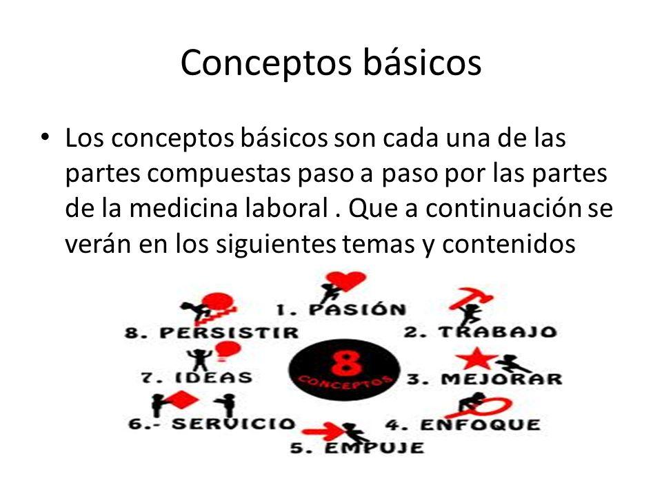 Conceptos básicos Los conceptos básicos son cada una de las partes compuestas paso a paso por las partes de la medicina laboral. Que a continuación se