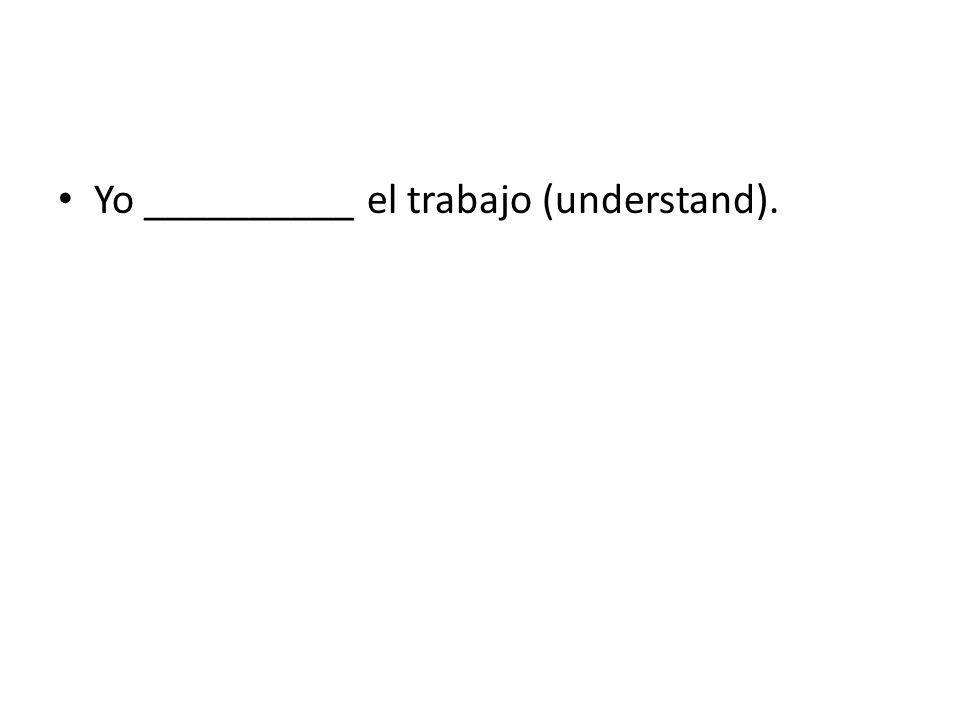 Yo __________ el trabajo (understand).
